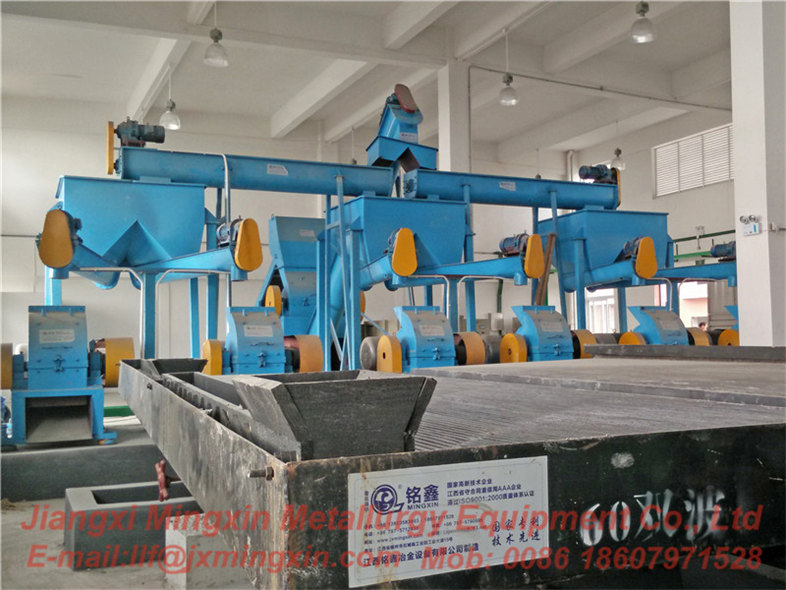 PCB recycling machine with wet separation