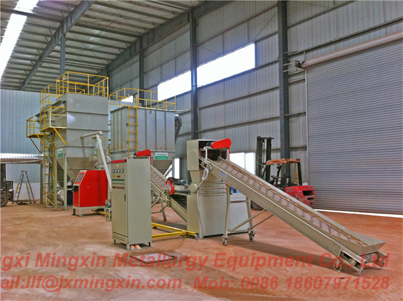 Waste PCB recycling line with dry separation