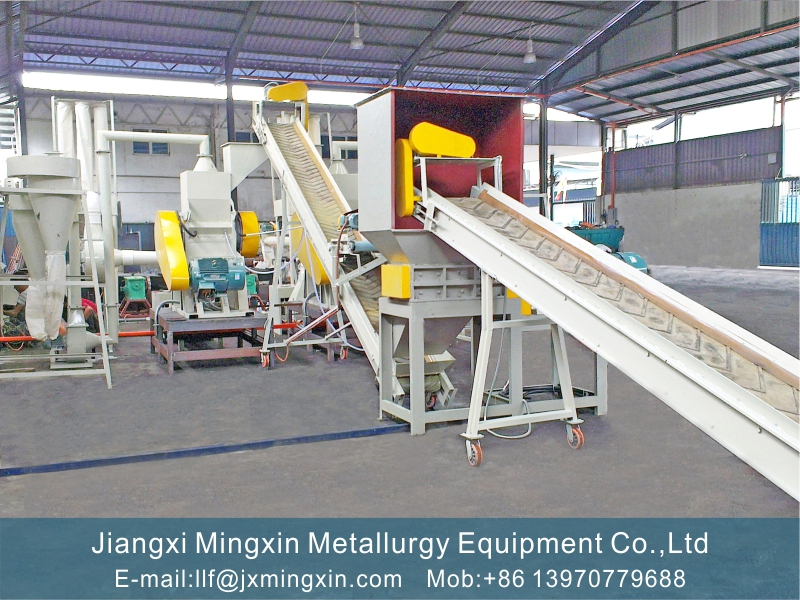 wet and dry type cable recycling production line